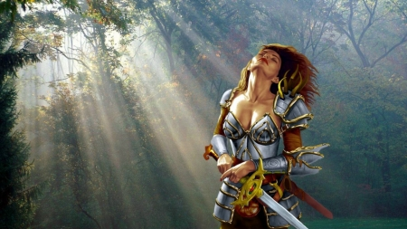 Woman Warrior - forest, fantasy, warrior, enchanting, Woman, light rays, sword