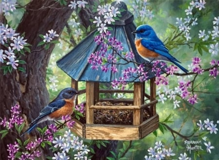 Birds - blue, art, house, abraham hunter, vara, green, bird, summer, pasari, flower, painting, pictura