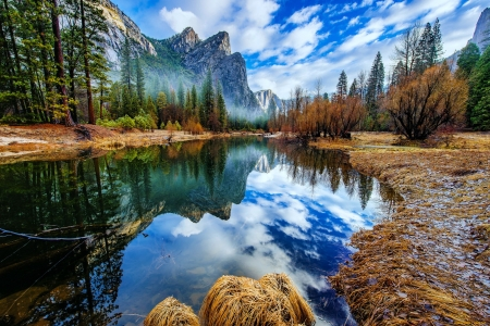 Three brothers mountains - lake, brothers, fall, mountain, autumn, three, beautiful, reflection
