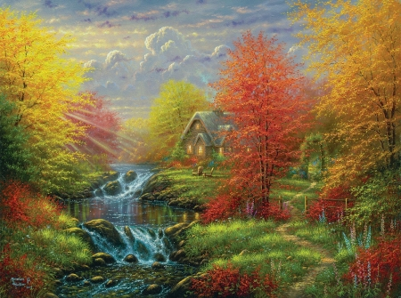 Autumn - art, colorful, red, house, autumn, cottage, abraham hunter, yellow, water, tree, source, green, painting, river, pictura