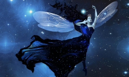 Starry Night Fairy - stars, Fairy, dreamy, fantasy, moon, ethereal, blue, night, magical