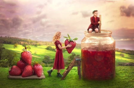 ♥ - girl, jar, bottle, red, boy, abstract