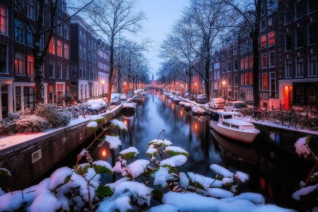 Amsterdam - cars, netherlands, boat, canal, snow, bicycles, trees, winter