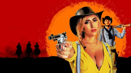 Red Dead Cowgirl . . - pistol, hats, cowgirl, video games, rifle, fantasy, NRA, blondes, cowboys, western, style