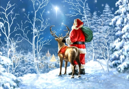 Starry Night Santa Claus - Christmas, villages, stars, holidays, love four seasons, sky, winter, xmas and new year, deer, santa claus, paintings, snow, forests, light