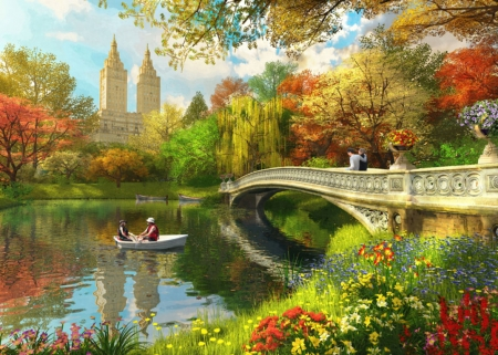 Bow bridge in autumn - art, red, autumn, mpeople, dominic davison, toamna, yellow, park, boat, water, bridge, green, painting, pictura