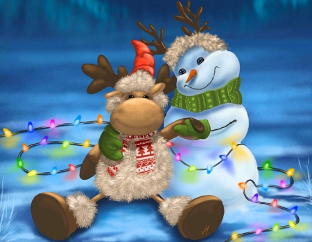 Finally its Christmas - paintings, holidays, snow, love four seasons, snowman, winter, xmas and new year, Christmas, cow doll, light bulb