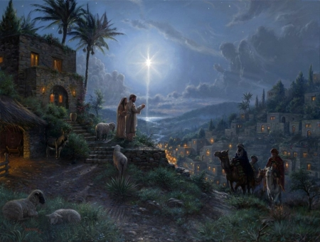 Light Of The World - Mary, Star, Joseph, Stable, Baby Jesus, Painting