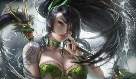 Akali - fantasy, girl, green, akali, sakimichan, dragon