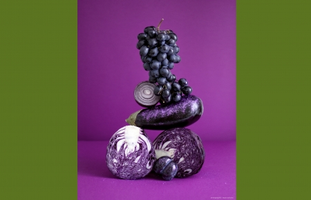 Purple Delights - onions, high resolution, vegies, fruits, framed, olive green, arranged, plum, cabbage, grapes, purple, 2800x3643, food still art, contrast, eggplant