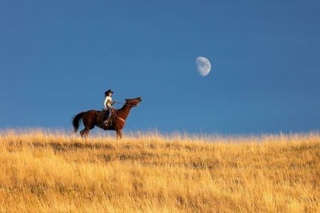 Daylight Moon . . - hats, cowgirl, boots, ranch, outdoors, women, horses, brunettes, moon, style, western