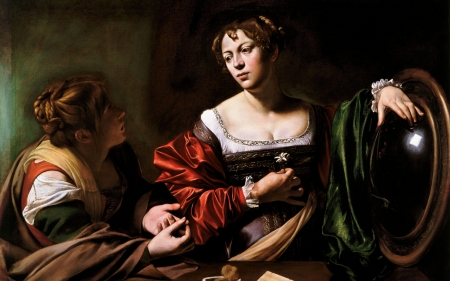 Martha and Mary Magdalene by Caravaggio - art, painting, mirror, michelangelo merisi da caravaggio, martha, mary, woman, couple, pictura