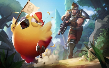 Chasing chicken - ethan yang, fantasy, chicken, tears, yellow, pui, game, man, cry