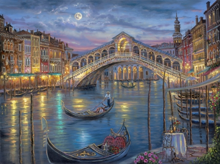 Last night on the Grand Canal - water, painitng, venice, pictura, night, blue, art, canal, robert finale, boat