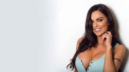 Krystle Lina - Krystle Lina, cleavage, brunettes, models, close up, simple background, smiling