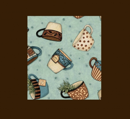 Tea Cups - red, brown, stripped, tea cups, teal, chai, English Breakfast, leaves, tea bags, filigree, polka dots, aqua, herbs, mugs, white, blue, whimsical