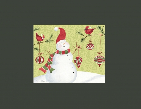 Decorating with friends - leaves, whimsical, snow, green, filigree, scarf, branches, white, red, ornaments, designs, red and green, circle, male cardinals, santa hats, polka dot, round, coal, snowperson, snowman, happy, cute, carrott