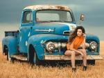 Cowgirl and her Vintage Ford Pickup