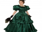 Christmas Victorian Green Satin Belle