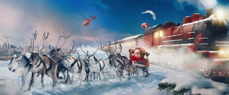 Santa's Sleigh, Reindeer & Christmas Train - Winter, Nature, Trains, Christmas, Reindeer, Snow, Santa