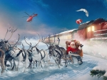 Santa's Sleigh, Reindeer & Christmas Train