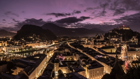 Salzburg Austria at Dusk - Dusk, Nature, Cityscapes, Austria, Clouds, Lights