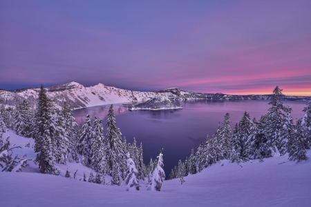 Crater Lake in Winter's Twilight - Winter, Nature, Trees, Sky, Twilight, Lakes, Snow
