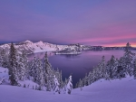 Crater Lake in Winter's Twilight