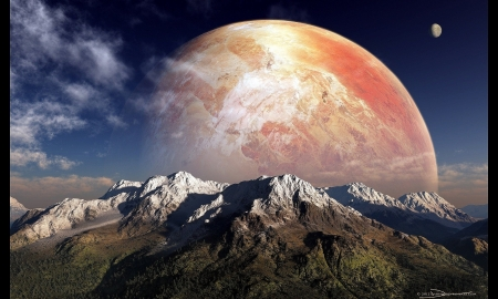 Moon Rise - Planets, Mountains, Clouds, Science Fiction, Sky