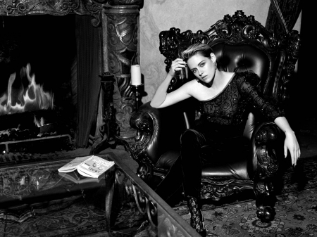 Kristen Stewart - Kristen Stewart, model, black white, beautiful, pants, blouse, heels, Stewart, fireplace, 2019, stockings, actress, Kristen, wallpaper, hot