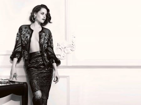 Kristen Stewart - Stewart, Kristen Stewart, legs, model, black white, skirt, beautiful, blouse, 2019, actress, Kristen, leather, wallpaper, hot