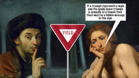 Hidden messages of the world - red, art, fantasy, traffic, girl, man, sign, vikki truver, funny