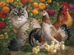 Siberian Cat with Chicken Family