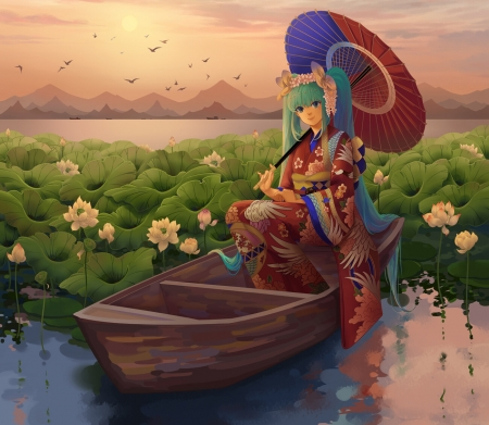 Hatsune Miku - lake, red, lotus, hatsune miku, umbrella, manga, meteor, kimono, water, boat, green, girl, anime, flower, parasol