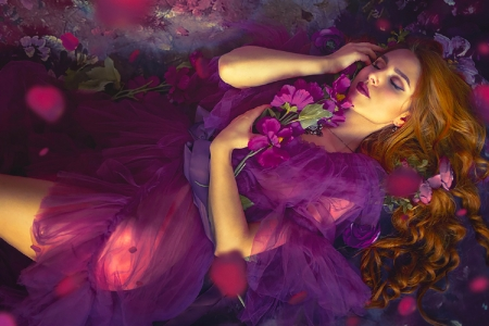 Purple Beauty - art, fantasy, girl, purple, wallpaper, resting, digital, woman, beautiful