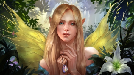 Ariadne - elf, blonde, yellow, aloija, fairy, blue, wings, luminos, fantasy, girl, ariadne