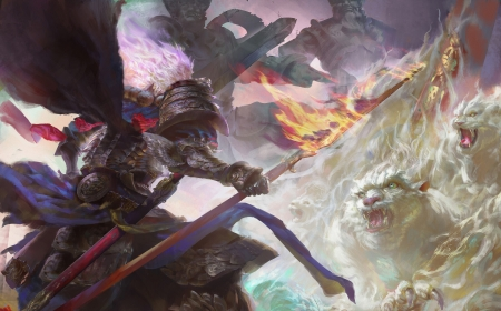 Epic battle - art, warrior, luminos, tiger, tigru, man, white, yueyang xie, fantasy
