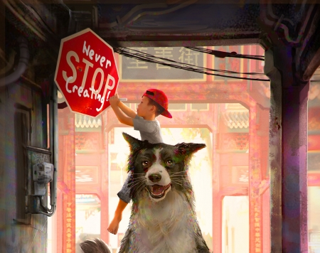 Year of the Dog - dog, art, red, luminos, traffic, sign, jarold sng, fantasy, boy, border collie, copil, child, pink