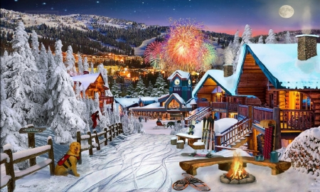 Winter Playground - rural, scenic, snow, fireworks, mountains, homes, village, winter