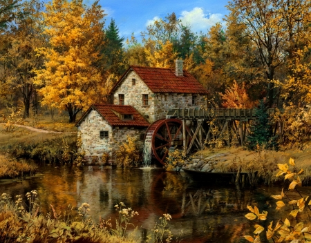 Watermill - countryside, art, fall, autumn, water, mill, painting, beautiful, pond