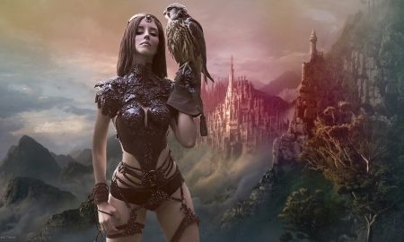 Fantasy Girl With a Falcon - lovely, medieval, fantasy girl, bird, falcon, hawk, Fantasy, castle