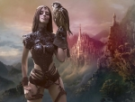 Fantasy Girl With a Falcon