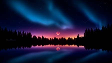 Polar Lights and Full Moon - aurora, polar lights, moon, nature, sky, reflection, night