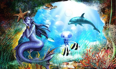 Surrounded by Sea Creatures - ocean, sea, sea animals, colors, magical, mermaid, Dolphin