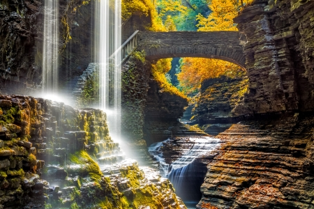 Autumn waterfall - rocks, fall, New York, autumn, bridge, waterfall, park, canyon