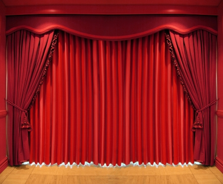 Red curtain - red, curtain, scene, texture