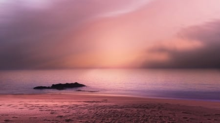 Pink Sea Pink Sky Oceans Nature Background Wallpapers On