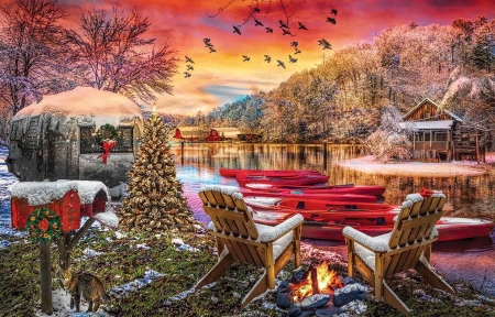 Christmas Eve Camping - camping, mountains, Houses, Winter, lake, cozy, holidays, scenic, christmas, Campfire, chairs