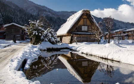Houses in Winter - pond, nature, houses, winter, snow