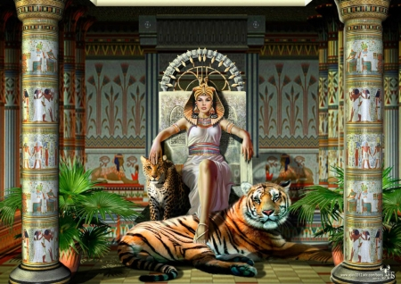 Queen - fantasy, frumusete, throne, girl, luminos, queen, tiger, tigru